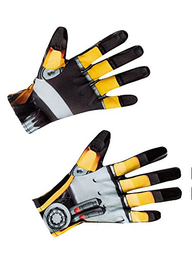 Disguise Men's Hasbro Transformers Age Of Extinction Movie Bumblebee Adult Costume Gloves, Yellow/Black, One Size