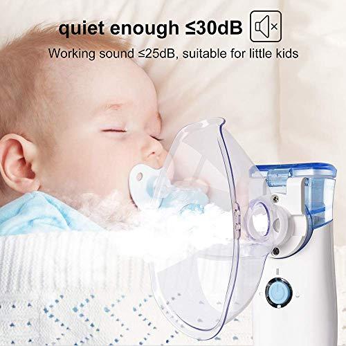 WELTEAYO Nebulizador Inhalador Portátil, Eléctrico Silencioso Cable USB Recargable Kit Ultrasónico Nebulizador para Adultos y Niños