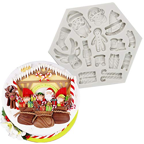 Box Chocolate Mold - Merry Christmas Themed Silicone Mold Santa/Claus/Elk/Gift Box/Gingerbread Man/Trojan/Christmas Socks Cookie Making Tools for Fondant Cake Cupcake Decoration Chocolate Candy Gum Paste Polymer Clay