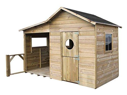 Spielhaus Ella- Kinderspielhaus Holz für den Garten, FSC zertifieziert/ TÜV geprüft inkl. Dachpappe