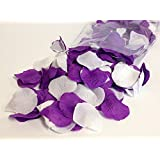 300pc Pack - Mixed Purple and White Artificial Rose Petals - Wedding Table Decoration
