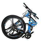 Kingttu EURG6 Mountain Bike 26 Inches 3 Spoke Wheels Dual Suspension Folding Bike 21 Speed MTB Bicycle Blue 2019