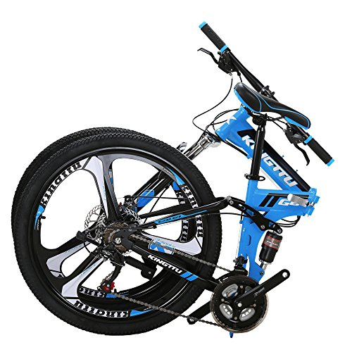 Kingttu EURG6 Mountain Bike 26 Inches 3 Spoke Wheels Dual Suspension Folding Bike 21 Speed MTB Bicycle Blue 2019 (Best Mtb Bikes 2019)