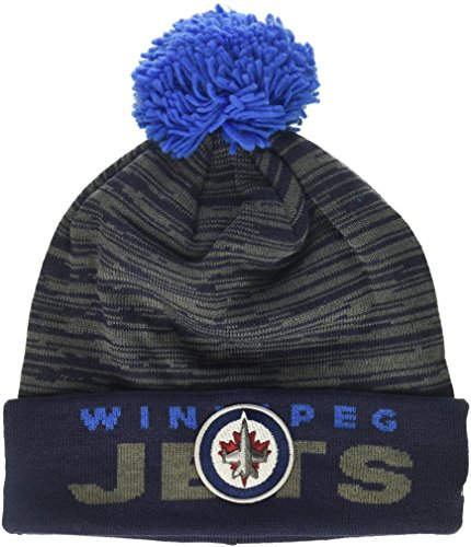 fan products of NHL Winnipeg Jets Adult Men Pro Authentic Cuffed Pom Knit, One Size, Navy