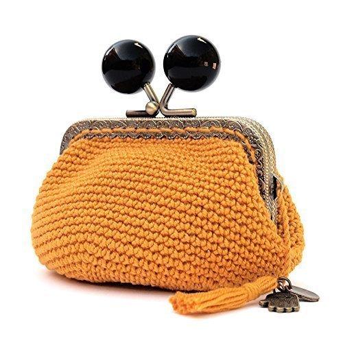 Monedero de mujer con boquilla tejido en crochet de estilo vintage