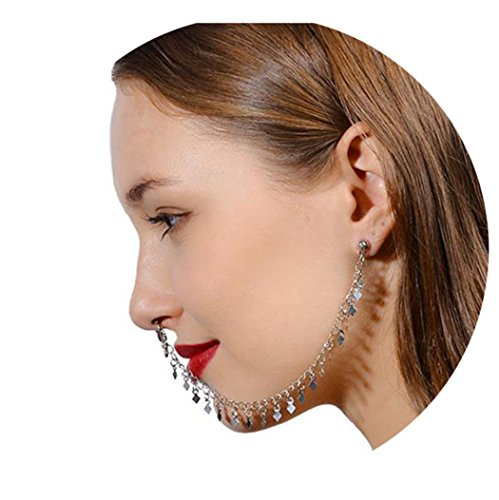 - Kiokioa Stainless Steel Open Hoop Nose Ear Ring Earrings Nose Stud Nose Ring Body Piercing Studs Jewelry (Silver)