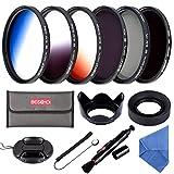 Beschoi52MM ND Filter Kit (ND4 + ND8), Graduated Color Filter Set (Orange, Blue, Gray), CPL Filter, Collapsible Rubber Lens Hood, Tulip Lens Hood Bundle for Camera Lenses with 52mm Filter Thread