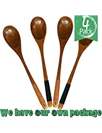 Gain 4pcs Good Grips Handmade Natural Wooden Soup Cooking Spoons,material of Nanmu,9in(002) occupation