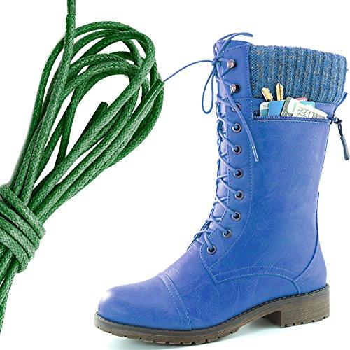 Dailyshoes Womens Bekämpa Stil Snörning Fotled Toffeln Rund Tå Militära Sticka Kreditkorts Kniv Pengar Plånbok Ficka Stövlar, Mörkgrön Blå Pu