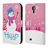 Head Case Designs Snowman Christmas Tidings Leather Book Wallet Case Cover for Samsung Galaxy S4 I9500