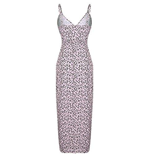 Igemy Frau V Ausschnitt Ärmellos Floral Printed Beach Kleid Damen Abendkleid Rosa 3w4TwE
