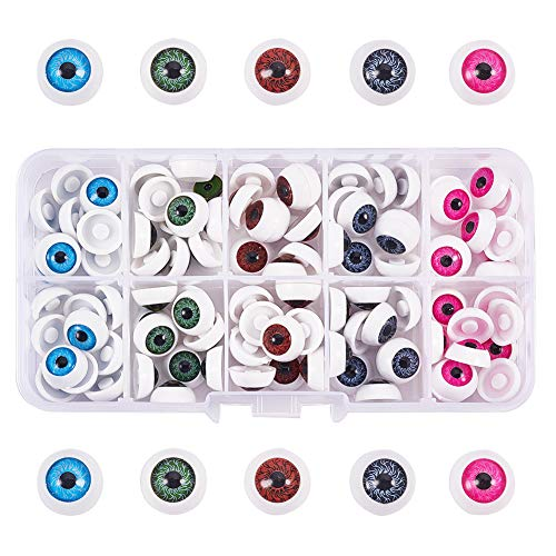 PH PandaHall 100pcs 5 Colors 12mm Half Round Plastic Doll Bear Eyes Eyeball Halloween Eyes Scary Eyes Eyeball Horror Props