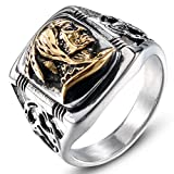 JAJAFOOK Mens Vintage Classic Stainless Steel Ring Biker Native American Indian Women Head Rings