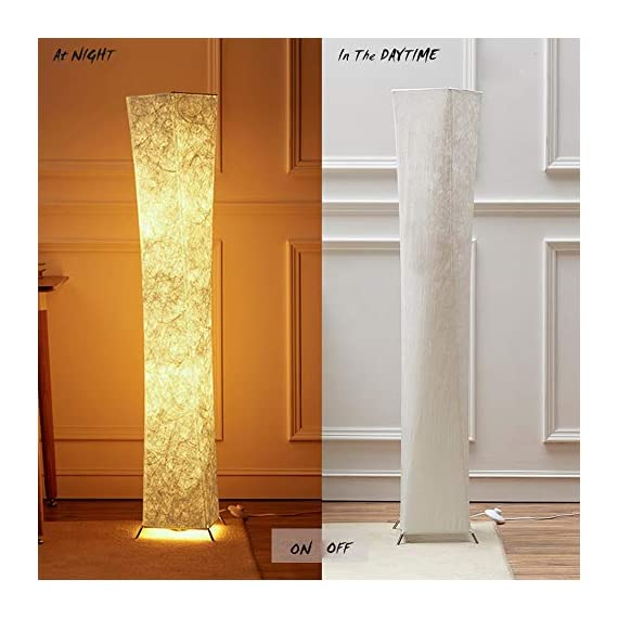 "LEONC 52"" Inch LED Floor Lamp with Fabric Shade & 2 Bulbs for Bedroom Living Room Warm Atmosphere (Slim Size: 7.8 x 7.8 x 52-Inch) - 💡PERFECT SIZE LOOKS GREAT WITH ANY DÉCOR:The Floor Lamp has a classic design and fits perfect in any room from modern to traditional décor. It's simple yet elegant design makes it easy to place in any room of the house. in an authentic metal frame has a PERFECT TWISTING TOWER MORDEN DESIGN which can makes the room feel larger perfectly with the warm tone of the LEONC lamp's illuminated, textural lamp shade. The overall look and feel of this lamp will make you feel warm cozy in any room 💡BEAUTIFUL WARM LIGHT ATMOSPHERE: The texture in the fabric makes it almost look like a marble statue,light is very gently and comfortable on the eyes.The average height of LED bulb gives even light and builds a Warm,Romantic atmosphere. An alternative to unpleasant overhead lights, the Lamp provides soft yet plentiful room lighting to enlighten your indoor space. With Teyvek Dupont decorative shade, you're free from the glare of overheads or exposed bulbs.family will feel right at home comfort 💡FITS EASILY NEXT TO ANY ROOM : It easy to clean&Easy to assemble within 15 minutes without any tools;It's easy to be cleaned with a dust cloth, No viscose, All recyclable Creative lamp is very lightweight, weighs only 3.7 pounds,stands just over four feet tall so that it is easy to move around to where light is needed most in your room.The lamp has a weighted 4 Steel Foot structure that prevents tipping,convenient to use on/off pedal switch allows you to easy tap by foot - living-room-decor, living-room, floor-lamps - 51NYbW1x%2BtL. SS570  -"