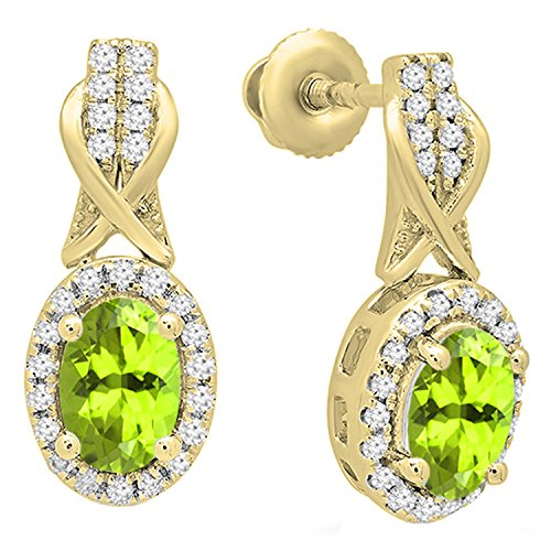 Dazzlingrock Collection 14K Each 6X4 MM Oval Peridot & Round White Diamond Ladies Dangling Drop Earrings, Yellow Gold