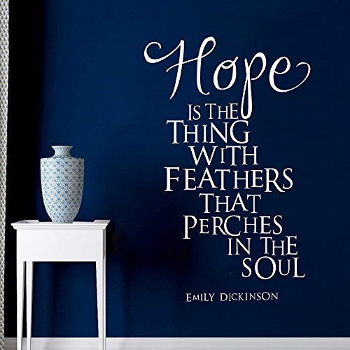 (Wall Decal Decor Hope is the thing with feathers that perches in the soul. - Emily Dickinson Wall Decal Quotes Vinyl Wall Art Sticker(Black, 22