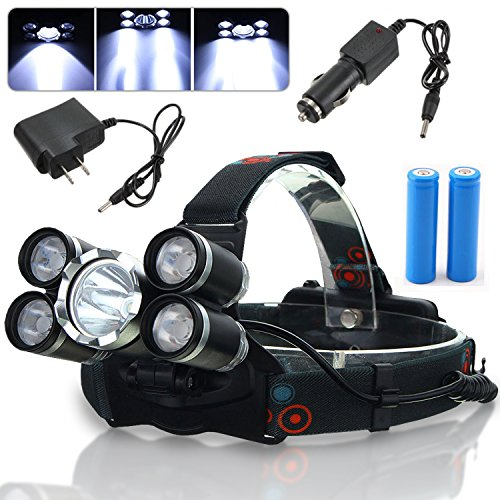 Rechargeable Headlamp Flashlight, MOCCO Waterproof Powerful 5 Led Headlight illumination Super-Bright Head Light Torch with Battery, Charger, Car Charger for Camping, Working (Black)