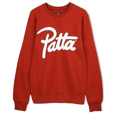 3bbd46f19 Patta Script Logo Crewneck Sweater - Bossa Nova Red-L  Amazon.co.uk ...