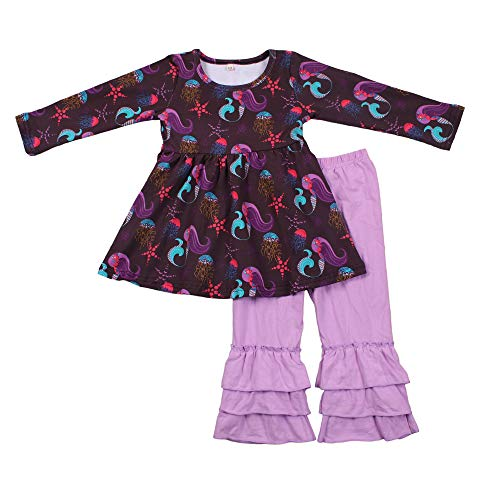 Baby Clothing Children's Boutique Girls Fall Clothes Set Kids Outfit Long Sleeve Dress and Pants 4T