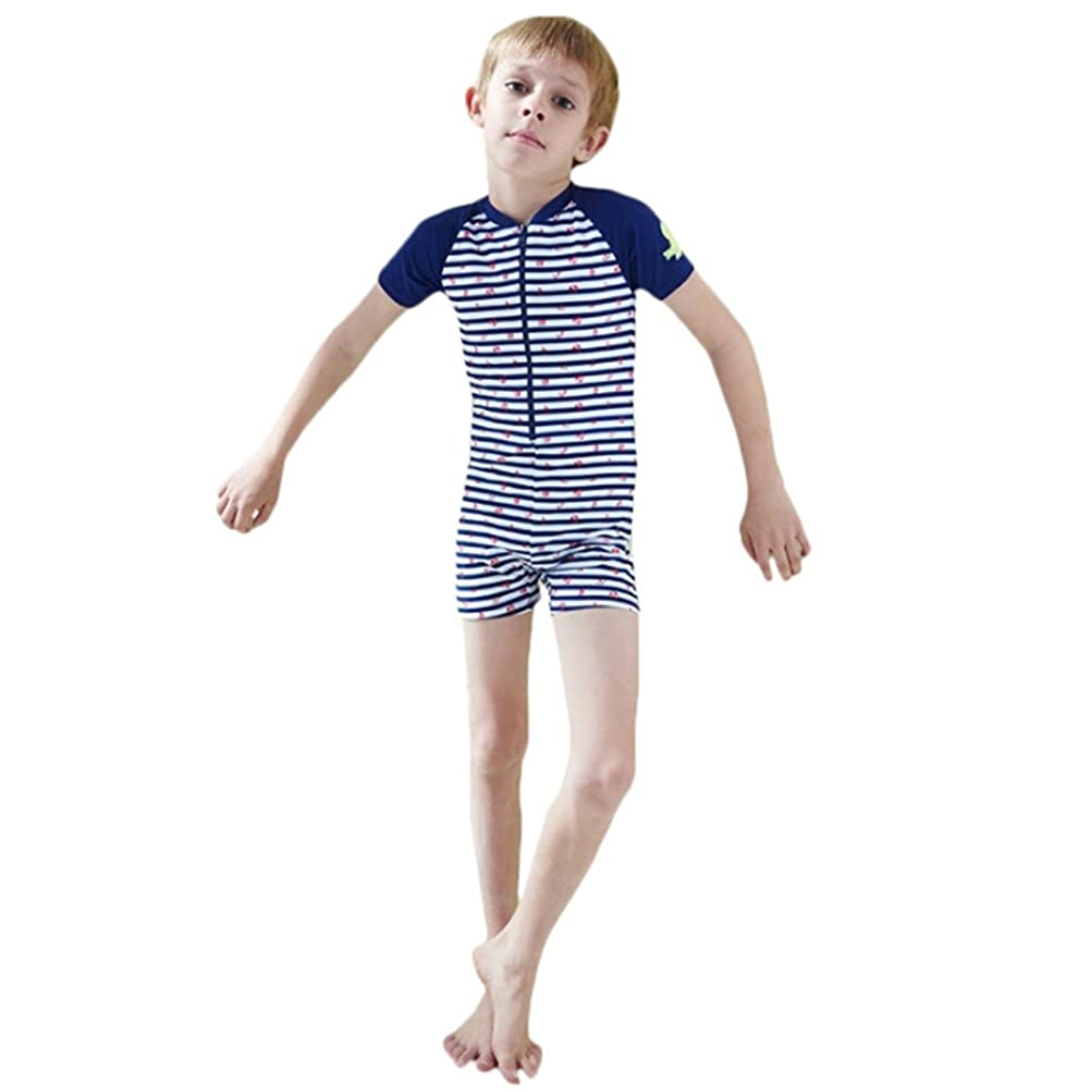 Boys Striped Printing Splicing Quick Dry Spa One Piece Swimsuit