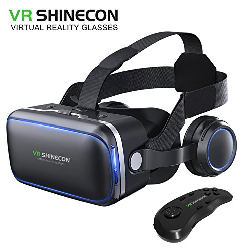 VR SHINECON Original 6.0 VR headset version virtual reality glasses Stereo headphones 3D glasses headset helmets Support 4.7-6.0 inch large screen smartphone (With controller SC-B01)