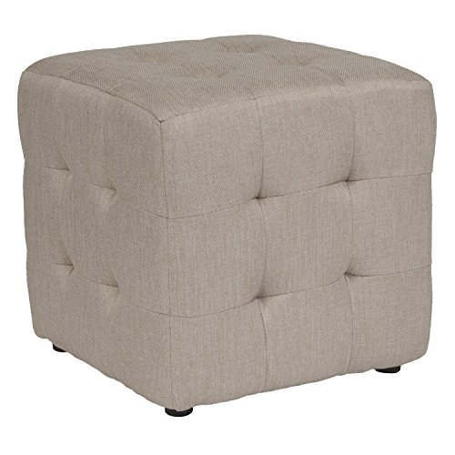 Flash Furniture Avendale Tufted Upholstered Ottoman Pouf in Beige Fabric from Flash Furniture