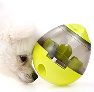 Dog Puzzle Treat Food Dispensing Ball Toys - Tumbler Dog Tricky Treat Balls Slow Feeder for Puppy Small Large Dog/Cat Treat Dispensing (Green)