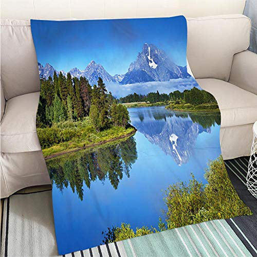 (BEICICI Creative Flannel Printed Blanket for Warm Bedroom Oxbow Bend Snake River Grand Teton National Park in Wyoming Hypoallergenic - Plush Microfiber Fill - Machine Washable)