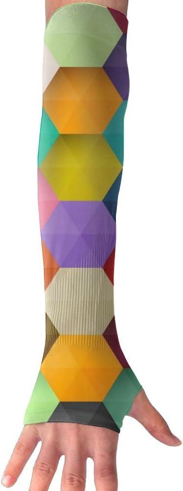 MASDUIH Diamond Hexagon Gloves Anti-uv Sun Protection Long Fingerless Arm Cooling Sleeve For Men And Women