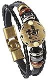 Hamoery Punk Alloy Leather Bracelet for Men Constellation Braided Rope Bracelet Bangle Wristband(Aquarius)