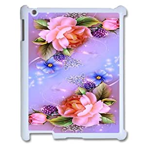 Ipad 2,3,4 2D Personalized Hard Back Durable Phone Case with Flower with Butterfly Image