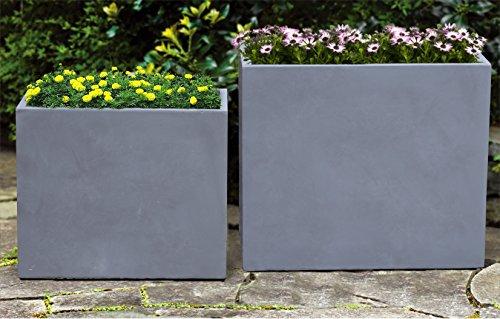 "Kasamodern KM195L Modern Concrete Planter Pot Rectangular, 24"" H x 28"" W x 16"" D, Gray Cement"