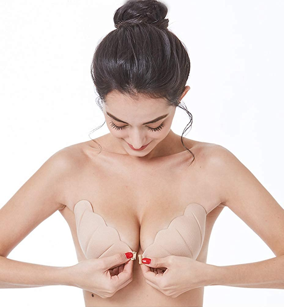 Yibaision Sticky Bra Backless Strapless Adhesive Deep V Pushup Women