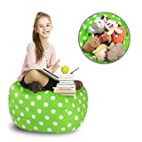 ROPODA Kids Stuffed Animal Storage Bean Bag Cover-100% cotton canvas storage bag Perfect Storage Solution for Toys, Clothes,Covers or Blankets(30,Green/white Polka Dots)