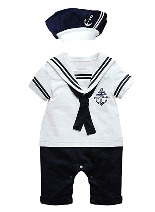 Paisdola Traje de mameluco marinero para niños (White,80(0-6 ...