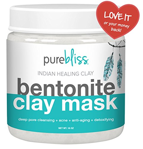 Pure Bliss Bentonite Clay  Powerful Indian Healing Clay Facial Mask for Acne Deep Cleansing of Skin Pore Minimizer and Anti-aging - 1 Pound