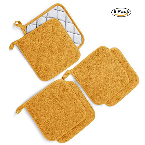 """Kitchen Potholders Set (6 Pack) Heat Resistant Coaster 100% Pure Cotton Kitchen Everyday Potholders- 7""""X7"""" For Cooking And Baking by Jennice House (Mustard)"""