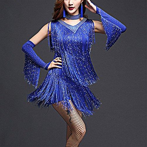 Flapper De En 20 Escote V Fringe Años Dresses Dance Yanxh Disfraces Los Lentejuelas Blue Charleston Clothing nw0xBESP