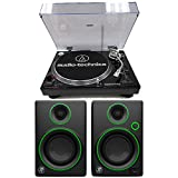 Audio-Technica AT-LP120-USB Direct Drive Professional Stereo Black Turntable Bundle with Turntable and Mackie CR Series CR3 3'' Creative Reference Multimedia Monitors (Pair)