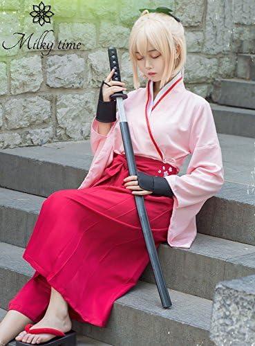[milky time] ウィッグ付き★ 沖田総司 桜セイバー 風 コスプレ 衣装 ピンク 袴 (M)