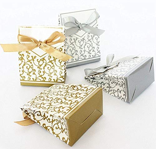 100 Pack Party Favor Boxes, Gold Decorative Boxes with Ribbons, for Small Party Gift, Chocolate, Wedding Cake -