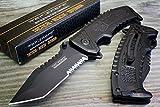 "Tac-force Black Sawback Tanto Point Spring Assisted Open Tactical Pocket Knife"" For Sale"