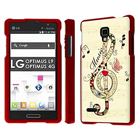 LG Optimus L9 [P769] [MS769] / Optimus 4G Total Armor Case [NakedShield] [Rose Red] Total Armor Case - [Music Note Art] for LG Optimus L9 [P769] [MS769] / Optimus (Lg L9 Music Case)