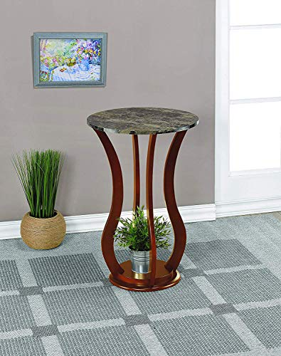 O'Neill Indoor Plant Stand - Wood with Faux Marble Top - Contemporary Pedestal Display Stand in Cherry - Finish Wood Pedestal