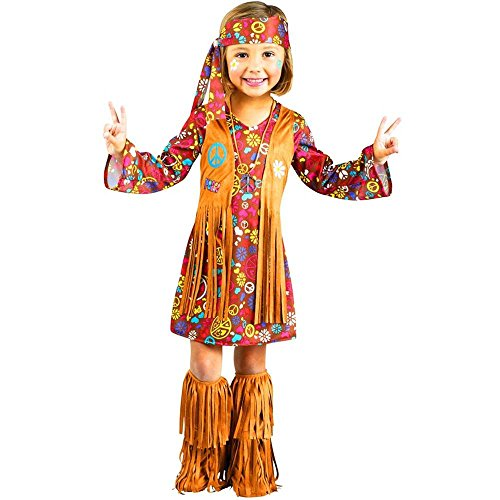 Fun World Costumes Baby Girl#039s Peace and Love Hippie Toddler Costume