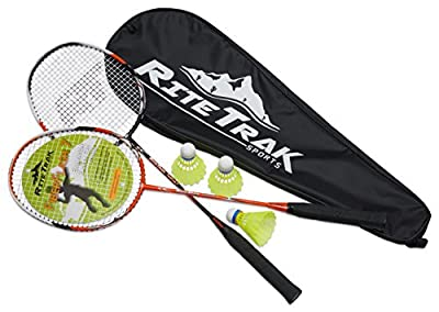 FiberFlash 7 Badminton Racket Set by RiteTrak Sports, 2 Carbon Fiber Shaft Racquets, 3 Shuttlecocks plus Fabric Carrying Bag All Included - Choose Your Favorite Colors