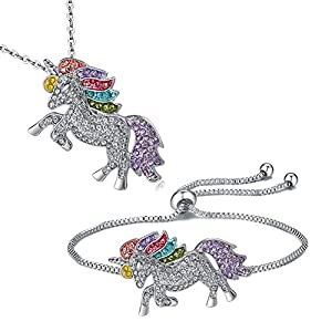 Leefi Rainbow Unicorn Gifts Set – Unicorn Rainbow Pendant Necklace – Unicorn Rainbow Adjustable Bracelet