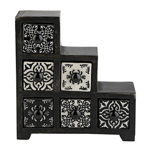 Price comparison product image Curios 6 Drawer Black Wood Apothecary Chest