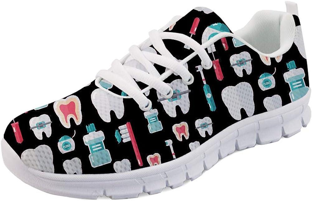 HUGS IDEA Women s Road Running Shoes Nurse Pattern Lightweight Sport Sneakers