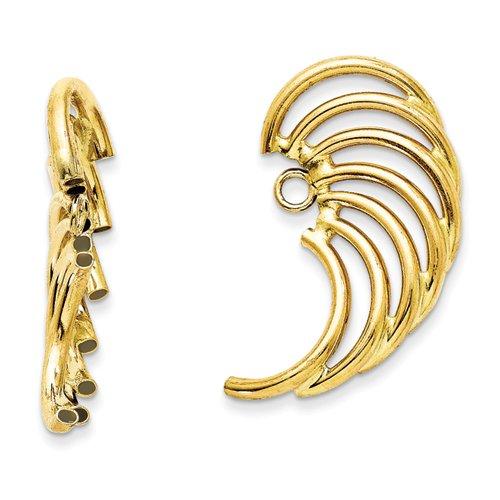 14k Yellow Gold Polished Swirl Shaped Earrings Jackets Earring-jackets